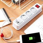 부엉이 클릭탭 USB 3구 1.5m 안전 디자인 멀티탭