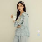 [쿠비카]이중 프릴 레이스 5부 투피스 여성잠옷W726