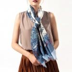 사계절 플라워무늬 롱스카프 - 블루 (d)