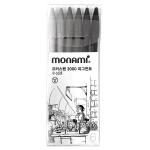 모나미 프러스펜 3000 피그먼트 6개 세트 수성펜