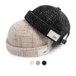 [디꾸보]울체크 코튼 패치 워치캡 모자 HN665