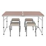 4인용 접이식 캠핑테이블 의자세트(브라운)