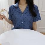 딥 블루 하트 파자마 세트 잠옷
