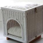 신시어재팬 등나무 큐브 하우스 화이트 고양이 하우스