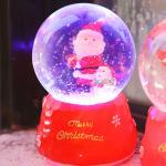 8cm 눈 결정 산타와 눈사람 워터볼 (D.LED 사운드)