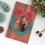 크리스마스 리스 고양이 스트링아트(우드/LED)
