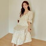 [쿠비카]볼륨 바스트 라인 셔링 원피스 여성잠옷 W771