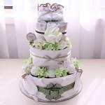 오가닉 3단 기저귀케익(오가닉베넷저고리,턱받이,손싸개,발싸개,손수건2장)