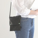 Two button book pouch cross_Charcoal