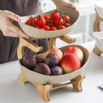 온나 2단 디저트 트레이 과일 접시(베이지)