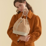 fake fur leather bag_ivory