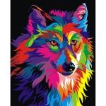DIY 명화그리기키트 - 무지개 늑대 40x50cm (물감2배, 컬러캔버스, 명화, 동물, 늑대, 무지개)