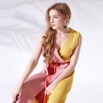 하프앤하프 니트 랩드레스 Half-and-half knit wrap dress