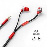 에어로폰 마이크/리모트기능 플랫케이블 이어폰 - MQGT26[레드]