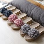 패브릭 꽃코사지 왕골 통굽 슬리퍼 - 3color