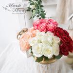 마쉬매리골드조화 로맨틱 로즈 부쉬_38cm FM408-0277