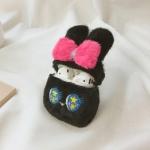 에어팟케이스 1/2 리본 토끼 캐릭터 밍크 털 422 블랙