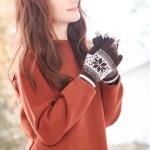 눈꽃패턴 터치 니트장갑(브라운)/겨울 방한 여성장갑