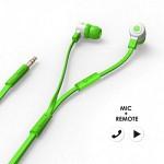 에어로폰 마이크/리모트기능 플랫케이블 이어폰 - MQGT26[그린]