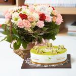 뚜레쥬르 녹차케익2호+레드버블(꽃배달,케익배달,케익,생일선물)