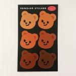 큐피드곰 얼굴 6종 리무버 스티커