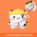 에어팟 1/2/3/프로 유치원 젖소 캐릭터 실리콘 케이스