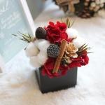 목화와레드수국-크리스마스 센터피스(프리저브드)