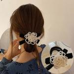 캐유미 비즈 장식 벨벳 리본 머리끈 헤어밴드