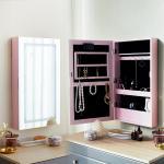 [베스트리빙]핑크 라인 수납형 LED거울(JC043-1-495C)