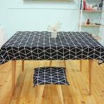 기하학 패턴 면식탁보 - 블랙