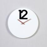 우드 모던 서클 12 포인트 카페 시계-화이트