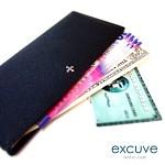 ★[excuve] Lx2 X-SLIM Wallet 이니셜 천연가죽 슬림 장지갑