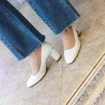 [애슬릿]골드 라인 스퀘어 여성 미들힐 5cm, 7cm