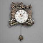 (kspz299)저소음 잉꼬부엉이 추 시계(골드)