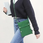 Two button book pouch cross_Forest green