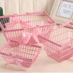 핑크 철제 바스켓 바구니 3size [예쁜 수납 소품]