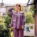 [쿠비카]브리티쉬 체크 펀칭 카라 긴팔 여성잠옷 W369