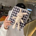 미니토끼 체크무늬 캐릭터 캔버스 크로스백 보조가방