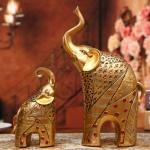 행운의 코끼리 상 장식 2P 재물복 황금 풍수 인테리어
