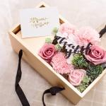 비누 카네이션 용돈 박스 (핑크-투명뚜껑)