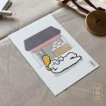 도로보우네코 부채 가게 고양이 일러스트 엽서