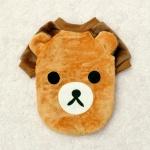 [펫딘]귀달이 배색 곰돌이 극세사 강아지옷티 BR E017
