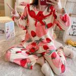 스트로베리 수면잠옷 여성 극세사 수면 바지 잠옷세트