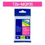[부라더정품]라벨테이프 TZe-MQP35(12mm x 5M) (베리핑크바탕/하얀글씨)