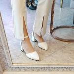 [애슬릿]스틸레토 발목 스트랩 여성 미들힐 구두 5cm
