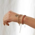 j_b4 - orange _ bing coin leather bracelets