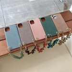 아이폰11 PRO MAX 단색 컬러 스웨이드 스트랩 케이스