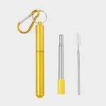 길이조절 휴대용 스텐 빨대(23cm) (옐로우)