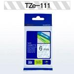 [부라더정품]라벨테이프TZe-111(투명바탕검정6mm)