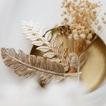 제이로렌 9H0277 더리프 엔틱골드 나뭇잎 헤어자동핀